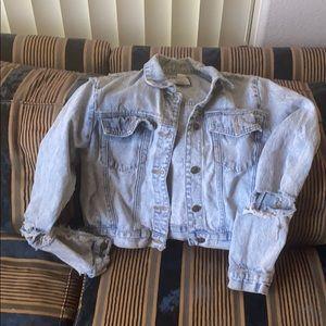 Acid washed, ripped, distressed denim jacket